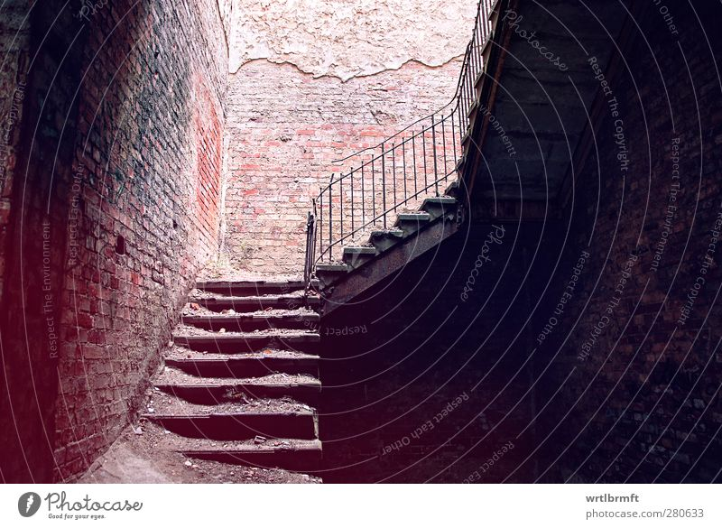 Silent staircase House (Residential Structure) Industrial plant Ruin Manmade structures Building Wall (barrier) Wall (building) Stairs Handrail Old Dirty Dark