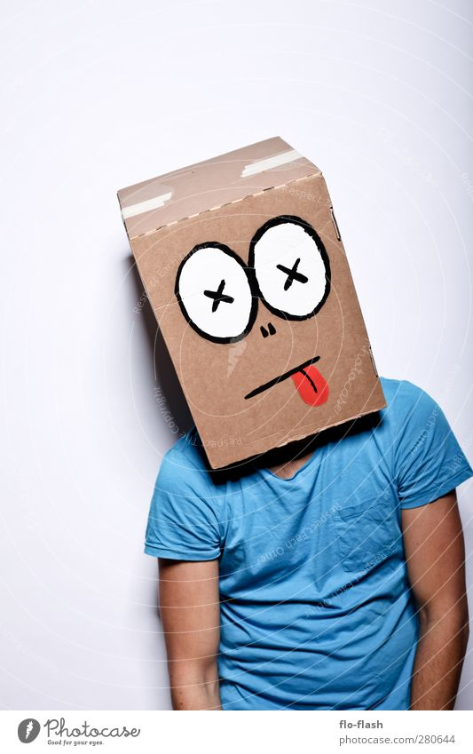 CARTOON - LEAVE Masculine Young man Youth (Young adults) Man Adults 1 Human being Art Stage play Cardboard Hang Hideous Broken Trashy Crazy Blue Sadness