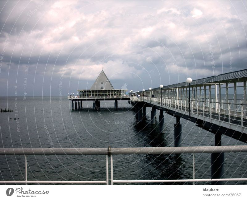 Water Cold Gray Lake Rain Wind Weather Europe Bridge Footbridge Baltic Sea
