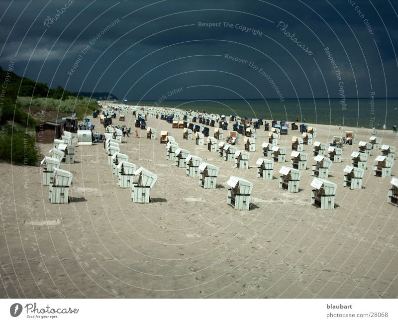Did you bring an umbrella? Beach chair Clouds Europe Baltic Sea Sand Thunder and lightning