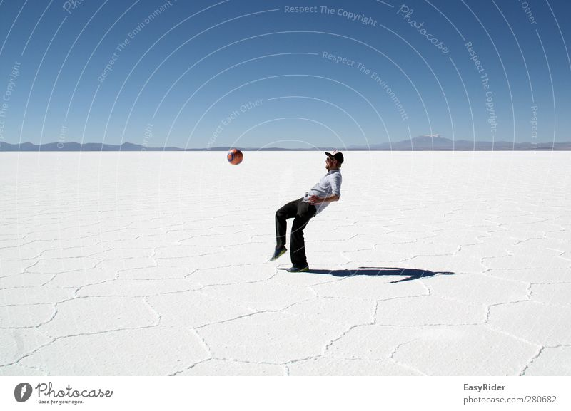 Human being Youth (Young adults) Vacation & Travel White Joy Loneliness Landscape Playing Lake Young man Rock Earth Soccer Masculine Foot ball Adventure