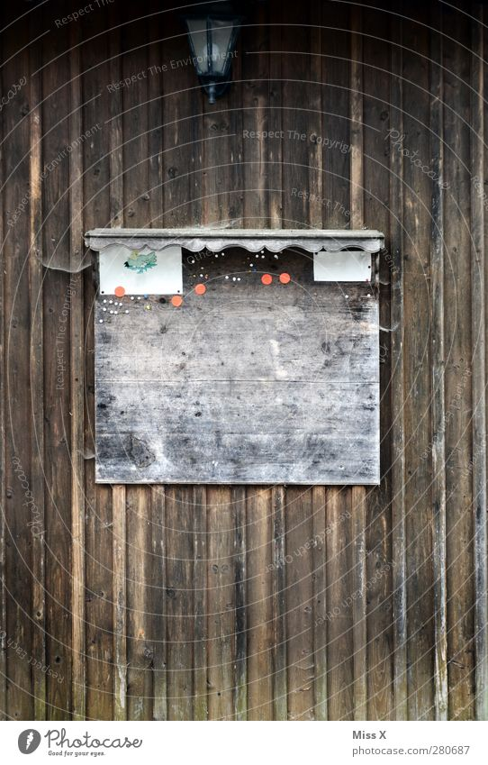Black board Wood Old Bulletin board Signs and labeling Wall (building) Wooden wall Information Notice Empty Colour photo Subdued colour Structures and shapes