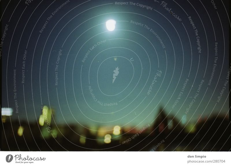 City Far-off places Horizon Moody Glittering Illuminate Perspective Analog Moon Downtown Night sky Center point Populated Full  moon