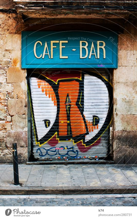 CAFE BAR DAD Bar Cocktail bar Gastronomy Town House (Residential Structure) Wall (barrier) Wall (building) Facade Door Street Stone Wood Metal Graffiti Wait