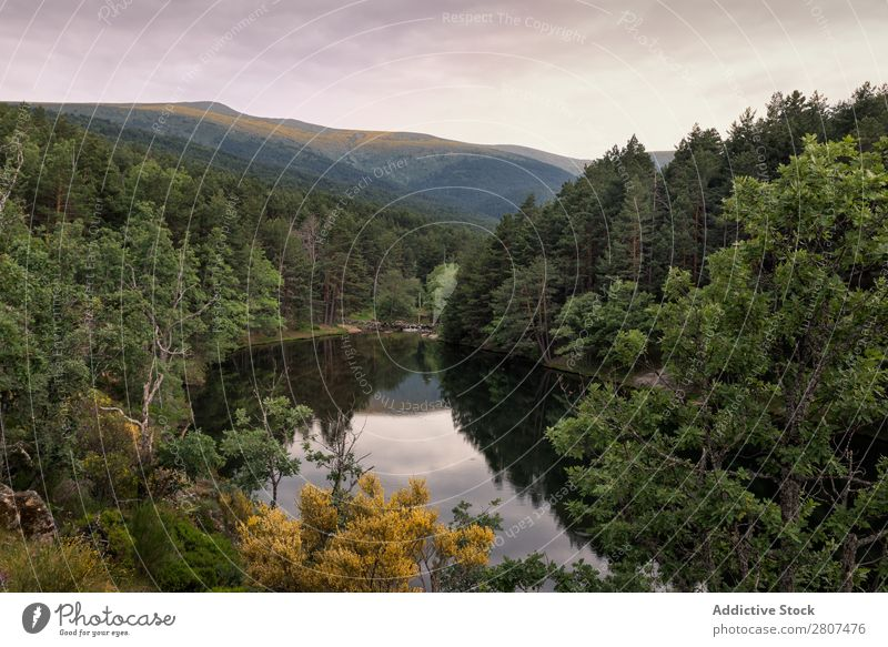 Amazing sunrise on a mountain lake in Rascafria, Madrid. Spain Lake Mountain Sunrise Nature Landscape Forest Sky Water River Summer Background picture Beautiful