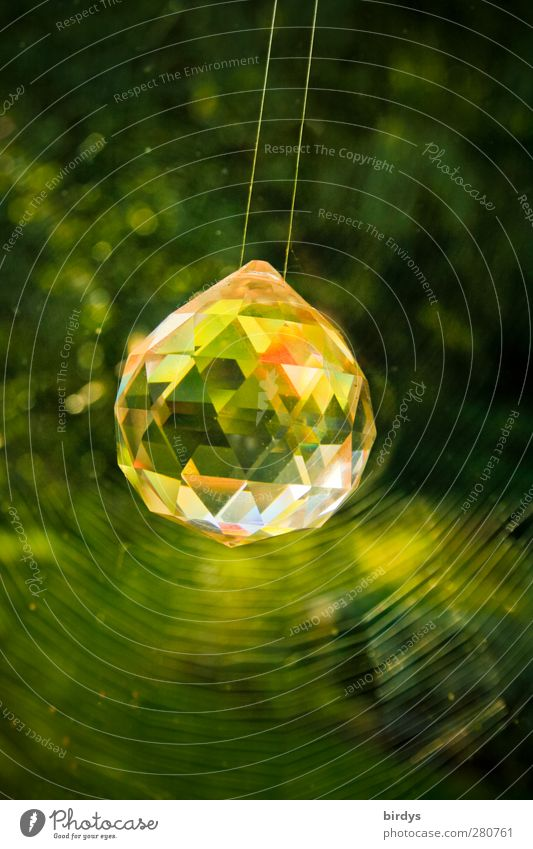 Green Beautiful Plant Style Art Glittering Illuminate Esthetic Decoration Pure Positive Rich Crystal Spider's web Swing Crystal ball