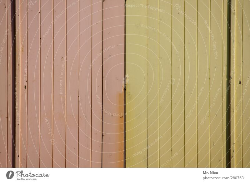 Two-coloured Hut Building Facade Door Yellow Pink Difference Wood Exceptional Structures and shapes Minimalistic Old Modernization Wooden door Old building