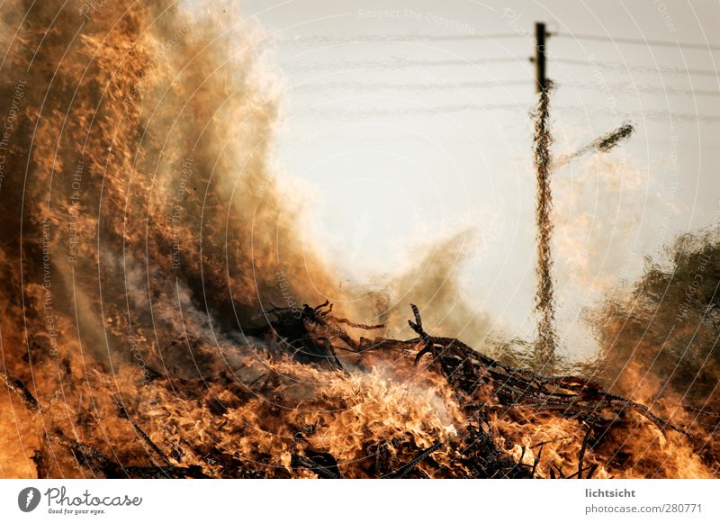 Fire! Elements Climate Climate change Warmth Village Hot Forest fire Easter fire Funeral pyre Electricity pylon Overhead line Disaster Drought Mirage Flame