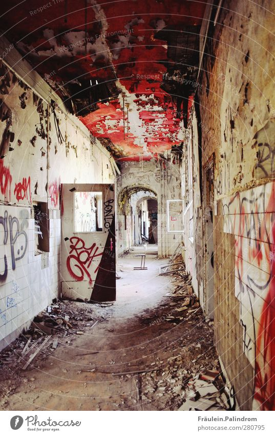 waiting room². House (Residential Structure) Industrial plant Factory Ruin Facade Window Door Old Sit Poverty Threat Dark Creepy Hideous Cold Red Hospitality