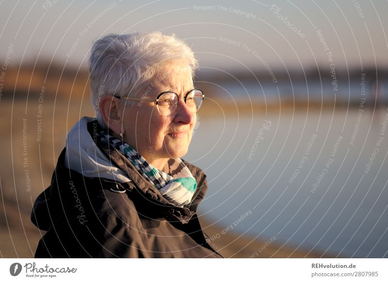 Senior in the evening light looks into the distance Senior citizen Lake Water wide Far-off places Meditative Eyeglasses Jacket Future Worries Nature Environment