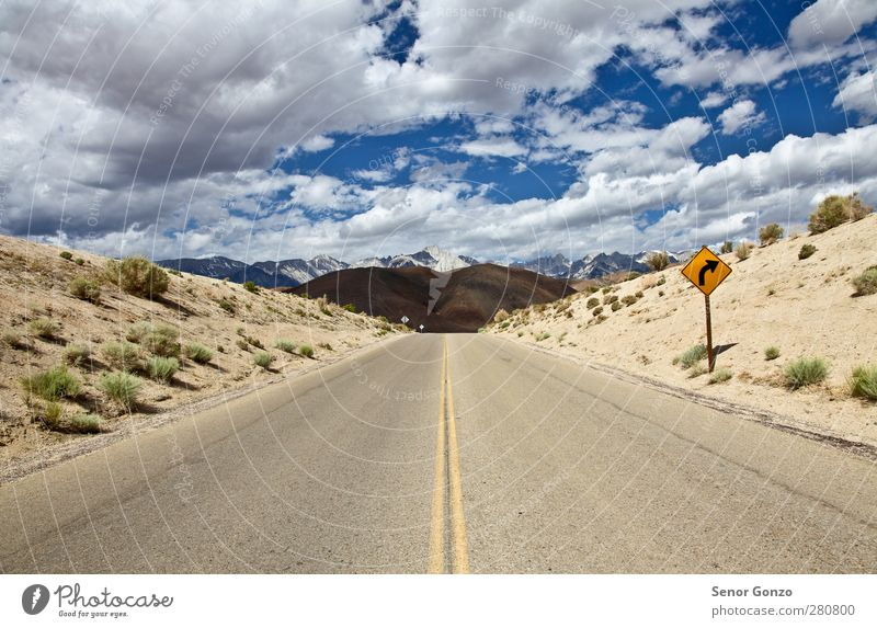 Road to Mountains / Close to Lone Pine Sky Nature Vacation & Travel Summer Sun Loneliness Landscape Clouds Mountain Street Lanes & trails Freedom Sand Horizon Tourism Transport