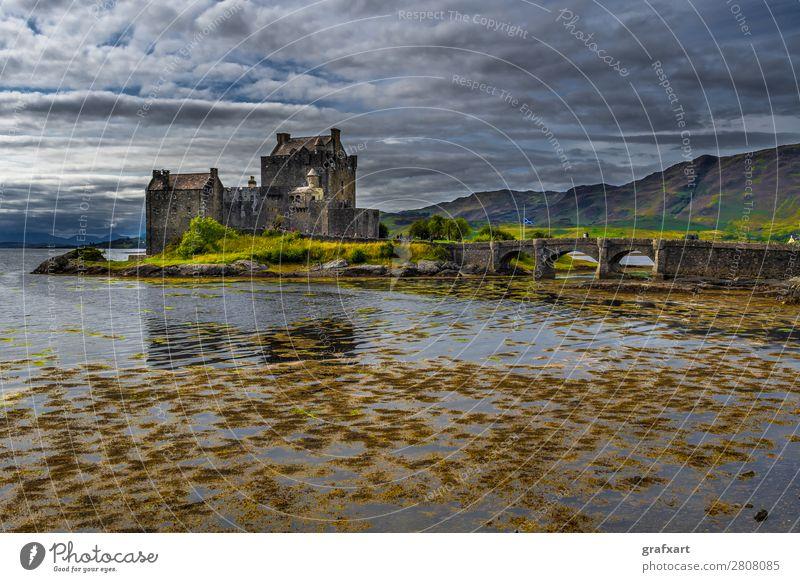 Eilean Donan Castle at Loch Duich in Scotland Old Architecture Bridge clan Eilean Donan castle Fortress Building Past Great Britain Highlands Historic Island