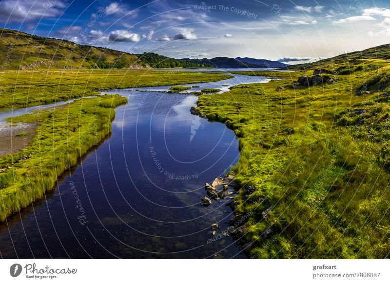 River Kishorn at the Applecross Pass in Scotland applecross Brook Mountain Wetlands Flow river kishorn Great Britain Highlands Background picture Hill Island
