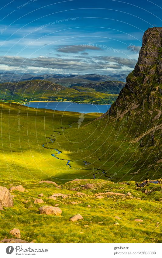 Valley at Applecross Pass with river in Scotland Adventure allt a'Chumhaing Alpine applecross outlook Brook Mountain Canyon Rock River Great Britain Tall Hill