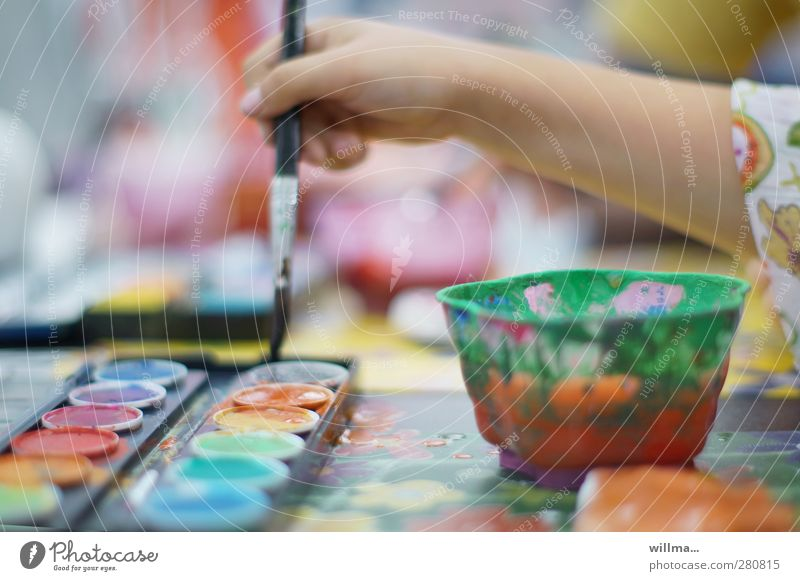 Child Hand School Infancy Leisure and hobbies Painting (action, artwork) Creativity Draw Kindergarten Paintbrush Parenting Fantasy Schoolchild Colour palette