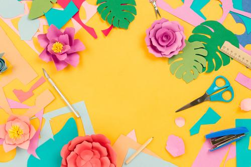 Stationary supplies and papercraft flowers on yellow background Nature Summer Plant Blue Colour Flower Leaf Background picture Yellow Blossom Spring Pink