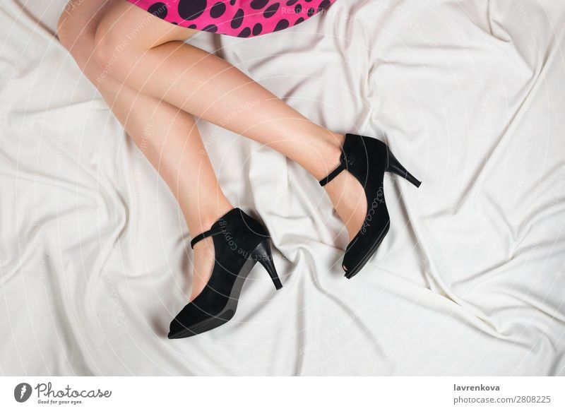 Above shot of white woman's legs in a high heeled shoes Woman Human being Youth (Young adults) Young woman White Hand Healthy Lifestyle Legs Adults Feet Fashion