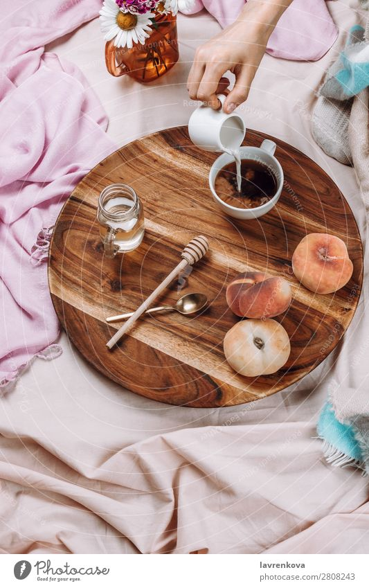 Flatlay of wooden tray with cup of coffee, peaches, creamer Cup Mug flatlay flat lay Bedroom Breakfast Espresso Syrup Spoon Fruit Peach Bouquet Winter Autumn