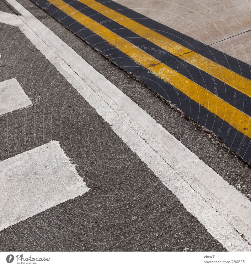 Old White Loneliness Yellow Street Line Signs and labeling Arrangement Authentic Transport Concrete Modern Aviation Esthetic Perspective Signage