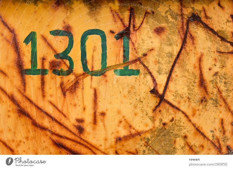 1301 Metal Steel Rust Sign Characters Digits and numbers Signs and labeling Old Broken Retro Brown Green Orange Red Scar Furrow Scratch mark