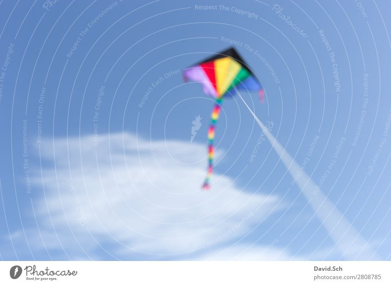 kites Leisure and hobbies Sky Clouds Wind Movement Flying Friendliness Blue Multicoloured Joy Hang glider Kite String Prismatic colors Toys Colour photo