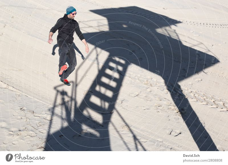 shadow play Human being Masculine Man Adults 1 30 - 45 years Sand Beautiful weather Coast Baltic Sea Sunglasses Cap Stand Thin Joy Contentment