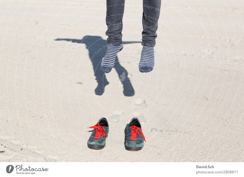 Human being Man Green Red Joy Adults Emotions Movement Exceptional Feet Flying Sand Going Jump Fear Masculine
