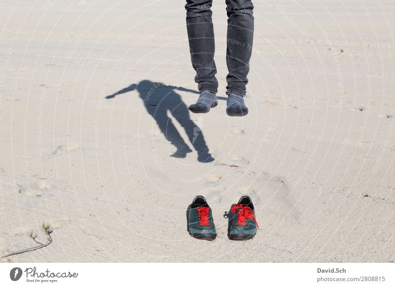 Withdrawn Human being Masculine Man Adults 1 Sand Footwear Sneakers Movement Flying Jump Exceptional Crazy Green Red Joy Ground Feet Aloof Doomed Helpless