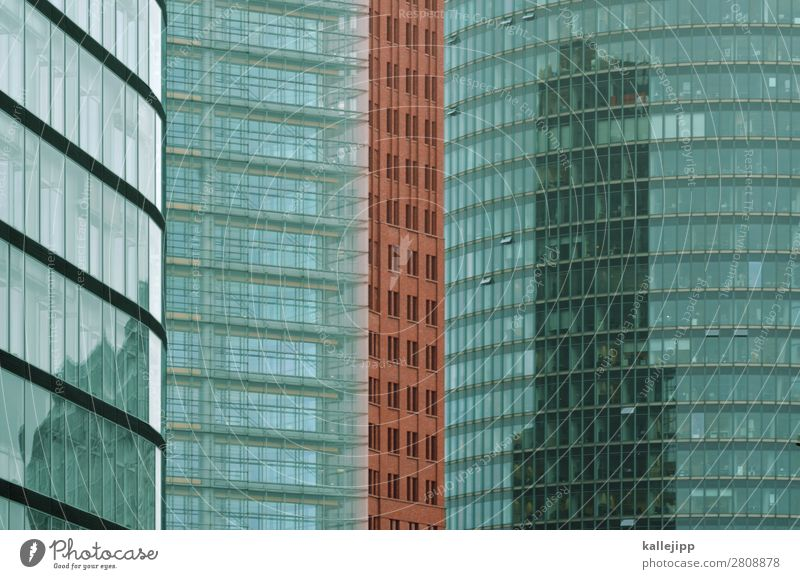 Potsdamer Square Town Capital city High-rise Bank building Manmade structures Building Architecture Red Brick Potsdamer Platz Glass Facade Glas facade Window
