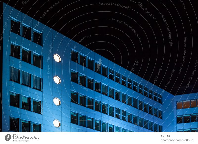 Blue House Deserted High-rise Manmade structures Building Architecture Office building Wall (barrier) Wall (building) Window Esthetic Success Black White Power