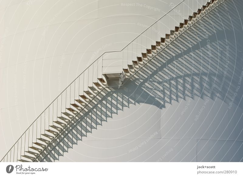 Descending from above Silo Energy industry Storehouse Stairs Metal Line Sharp-edged Long Modern White Esthetic Symmetry Lanes & trails Banister Shadow play