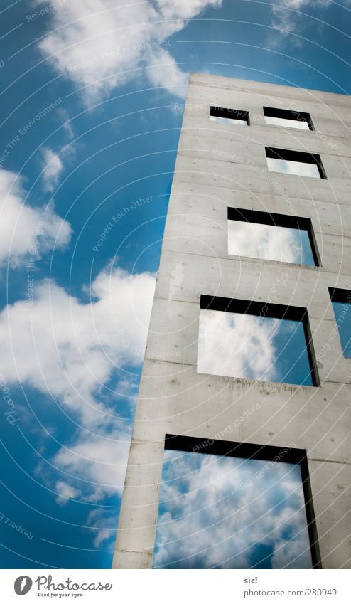 ladder to heaven Construction site Architecture Air Sky Clouds Town Skyline House (Residential Structure) High-rise Wall (barrier) Wall (building) Facade Window
