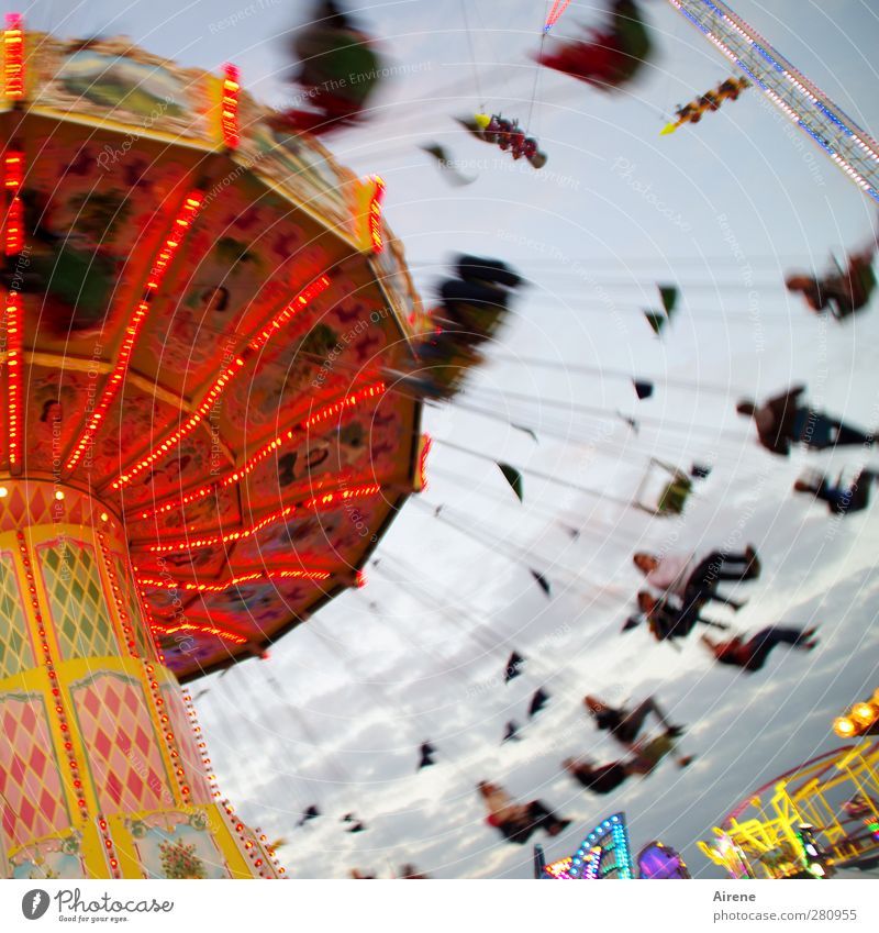Now it's going round and round! Joy Feasts & Celebrations Oktoberfest Fairs & Carnivals Human being Life Group Driving Hang To swing Sit Happiness Funny Round