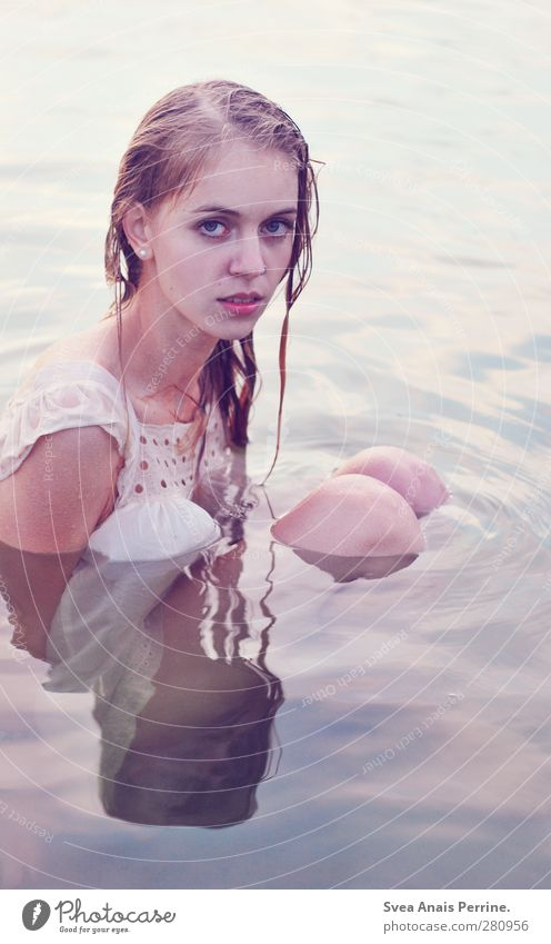 water stories. Feminine Young woman Youth (Young adults) Hair and hairstyles Legs 1 Human being 18 - 30 years Adults Environment Nature Water Lake Dress Blonde
