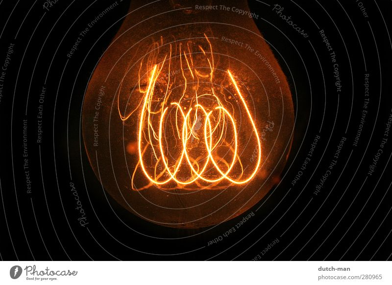 Light bulb filament Lamp Might Spiral light wire glowing Colour photo Close-up Detail Deserted Isolated Image Neutral Background Night Artificial light