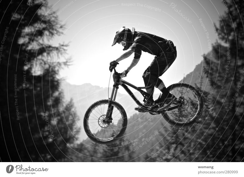 flying bikeman Lifestyle Fitness Sports Cycling Human being Masculine Man Adults Body 1 18 - 30 years Youth (Young adults) Nature Landscape Air Summer Autumn
