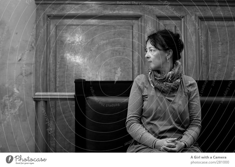 behind the scenes at the museum Human being Feminine Woman Adults Life 1 30 - 45 years Looking Wait Interest Black & white photo Interior shot Copy Space left