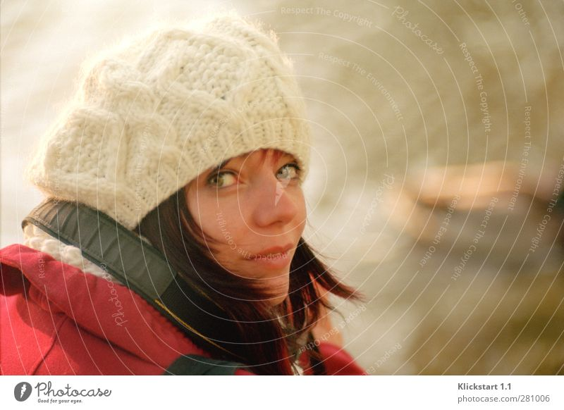 Human being Youth (Young adults) White Beautiful Red Calm Winter Adults Cold Life Young woman 18 - 30 years Authentic Observe Curiosity Cap