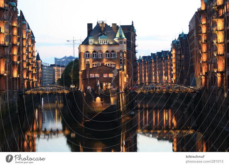 Teekontor moated castle in the Speicherstadt Gastronomy Architecture Port City House (Residential Structure) Tourist Attraction Stone Relaxation Blue Yellow