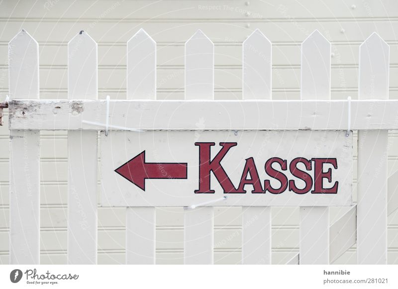 Checkout asked Wood Signs and labeling Red White Cash register Arrow Information Left Paying Fence Signage Money Financial Industry Colour photo Subdued colour