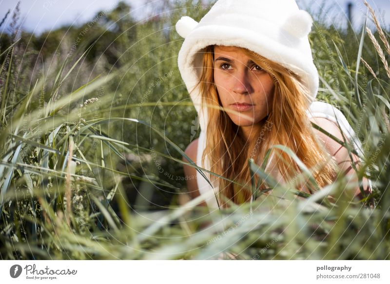 A polar bear on a summer holiday (II) Human being Feminine Young woman Youth (Young adults) Woman Adults Life Head 1 Environment Nature Plant Sky Summer Climate