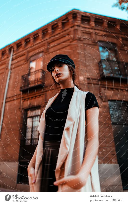 Sensual stylish woman on street Woman Style Youth (Young adults) Street Brick Building Cap