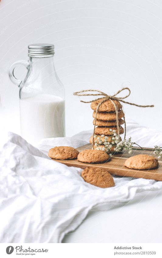 Bottle of milk and cookies Milk Cookie Sweet Glass Food Table Snack Dessert White Fresh Drinking Delicious To feed Kitchen Stack Breakfast Sugar Home Tasty