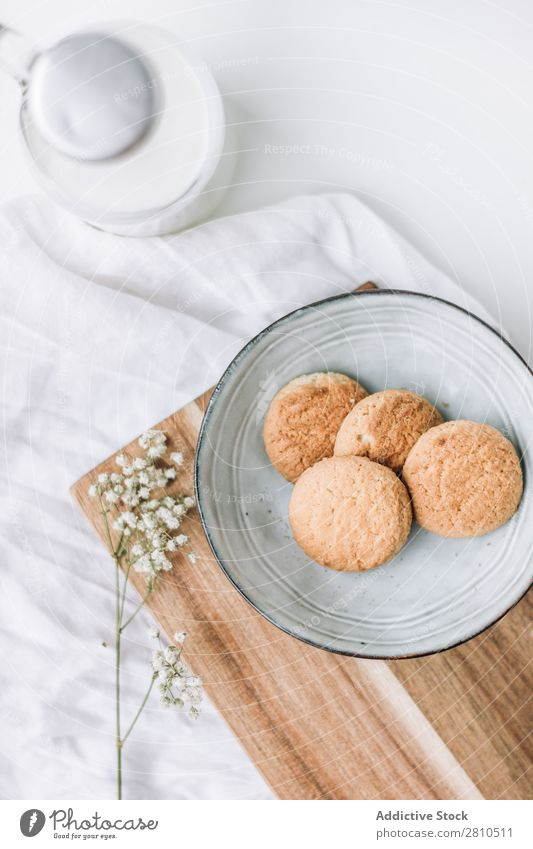 delicious cookies in a plate with bottle of milk Cookie Sweet Food Table Snack Dessert White Fresh Drinking Delicious To feed Kitchen Stack Breakfast Sugar Home