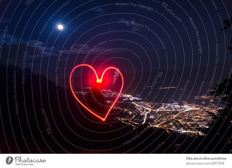 Love is in the air Environment Nature Landscape Clouds Stars Horizon Moon Summer Grass Hill Rock Alps Mountain Peak Small Town Capital city Populated Illuminate
