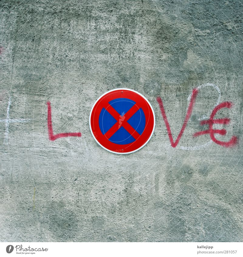 Red Love Graffiti Wall (barrier) Signs and labeling Transport Characters Signage Money Kissing Crucifix Bans Euro symbol Warning sign Road sign