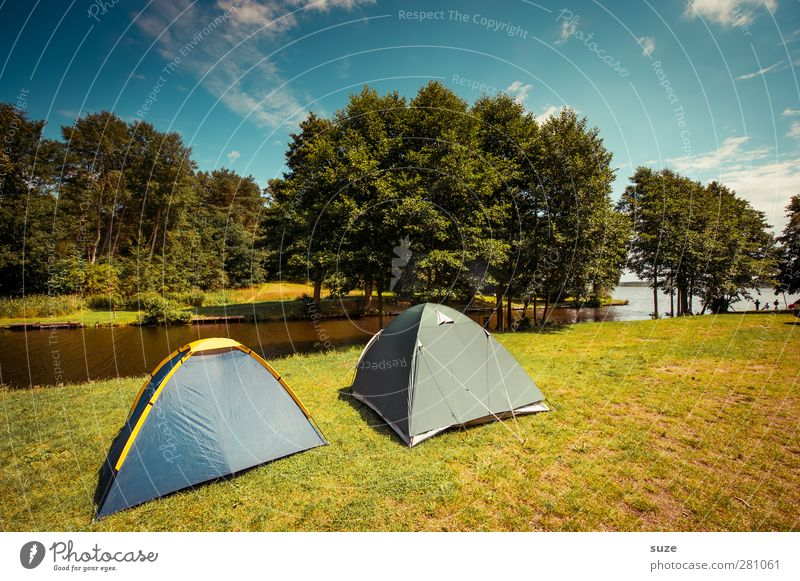 double tent Leisure and hobbies Vacation & Travel Trip Camping Summer Environment Nature Landscape Sky Clouds Horizon Climate Beautiful weather Tree Meadow