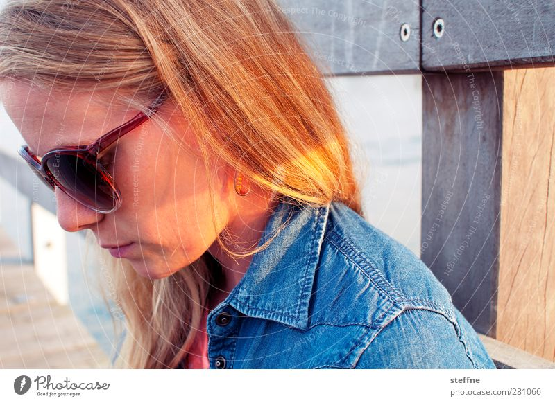 Human being Woman Nature Youth (Young adults) Beautiful Ocean Calm Adults Young woman Hair and hairstyles Head Blonde Concentrate Baltic Sea Footbridge