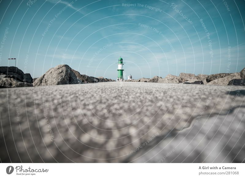 Warnemünde - Horizon Sky Cloudless sky Summer Lighthouse Far-off places Deep Small Lanes & trails Worm's-eye view Subdued colour Exterior shot Copy Space left