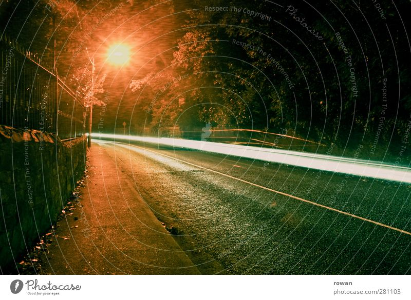 night ride Transport Means of transport Traffic infrastructure Road traffic Motoring Street Dark Town Tracer path Speed Lamp Street lighting Lighting Curve Tilt